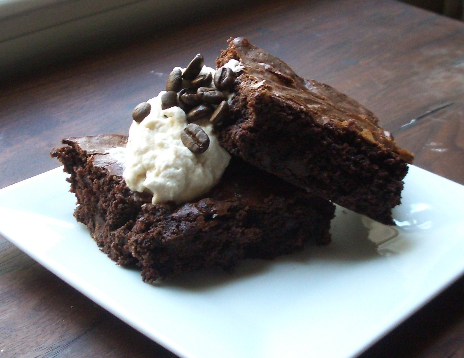 Fudge-y Brownies with Coffee Whipped Cream | 2frugalfoodies
