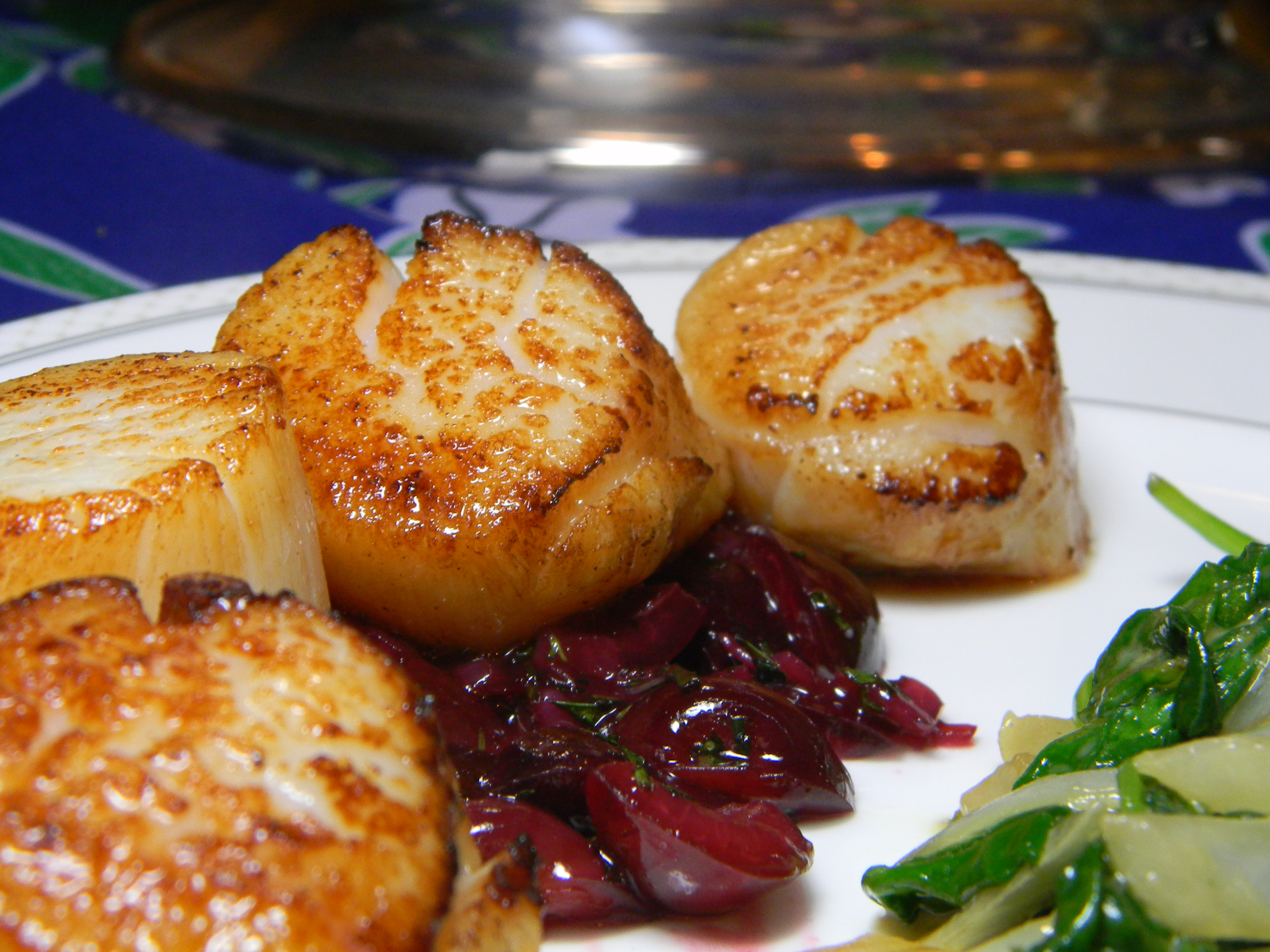 ... seared scallops with tarragon butter sauce stock photo seared scallops